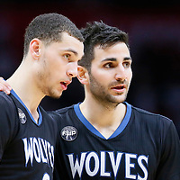 03 February 2016: Minnesota Timberwolves guard Zach LaVine (8) listens to Minnesota Timberwolves guard Ricky Rubio (9) during the Minnesota Timberwolves 108-102 victory over the Los Angeles Clippers, at the Staples Center, Los Angeles, California, USA.