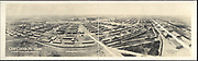 World War I Panoramas <br /> <br /> These long panoramic photographs show U. S. military personnel and camps, patriotic parades, and European battlefields and cemeteries related to WWI.<br /> <br /> PHOTO SHOWS: Camp Custer, Michigan, photographed from kites, camera elevated 500 feet, 1918.<br /> ©Library of Congress/Exclusivepix Media