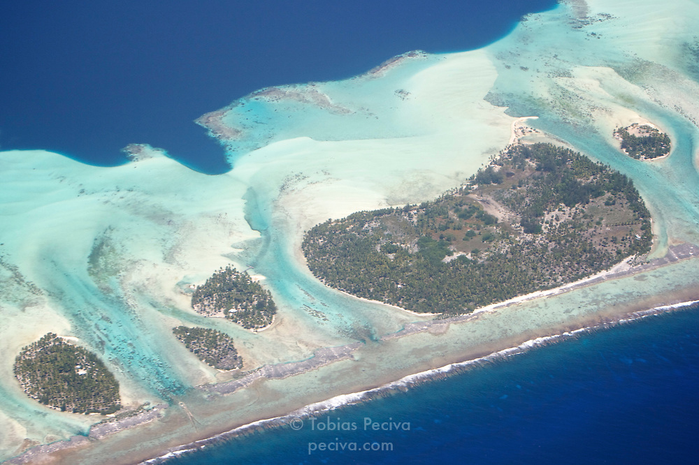 Detail of the barrier reef surrounding tropical island Tahaa. Tahaa is one of the Leeward Islands in the Society Islands archipelago of French Polynesia.
