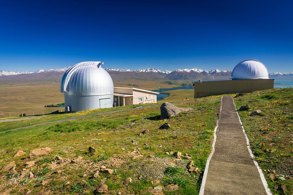 Lake Alexandrina and the Southern Alps from the Mt. John Observatory, Tekapo, Canterbury, South Island, New Zealand