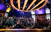 Show choirs onstage during the NBC 'Clash Of The Choirs' full show rehearsal at Steiner Studios in Brooklyn, New York City, USA