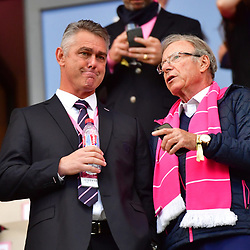 (L-R)  New Stade Francais Paris coach for next season Heyneke Meyer and Stade Francais Paris owner Hans Peter Wild during the French Top 14 match between Stade Francais and Brive at Stade Jean Bouin on April 28, 2018 in Paris, France. (Photo by Dave Winter/Icon Sport)