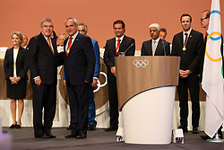 LIMA, Sept. 16, 2017  New International Olympic Committee (IOC) member and International Equestrian President Ingmar De Vos (R F) poses, after taking oath, with IOC President Tomas Bach (L F) during the 131st IOC session in Lima, Peru, on Sept. 15, 2017. The 131st IOC session concluded on Friday. (Credit Image: © Li Ming/Xinhua via ZUMA Wire)