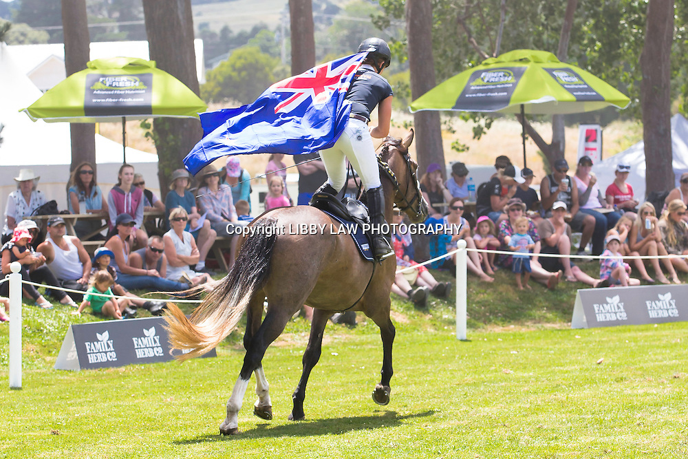 The Wilson Sisters showcase their Kaimanwa Stallions who were in the wild just 6-months ago: 2015 NZL-IMAKE Showjumping Waitemata World Cup - Woodhill Sands (Sunday 11 January) CREDIT: Libby Law/www.photosport.co.nz