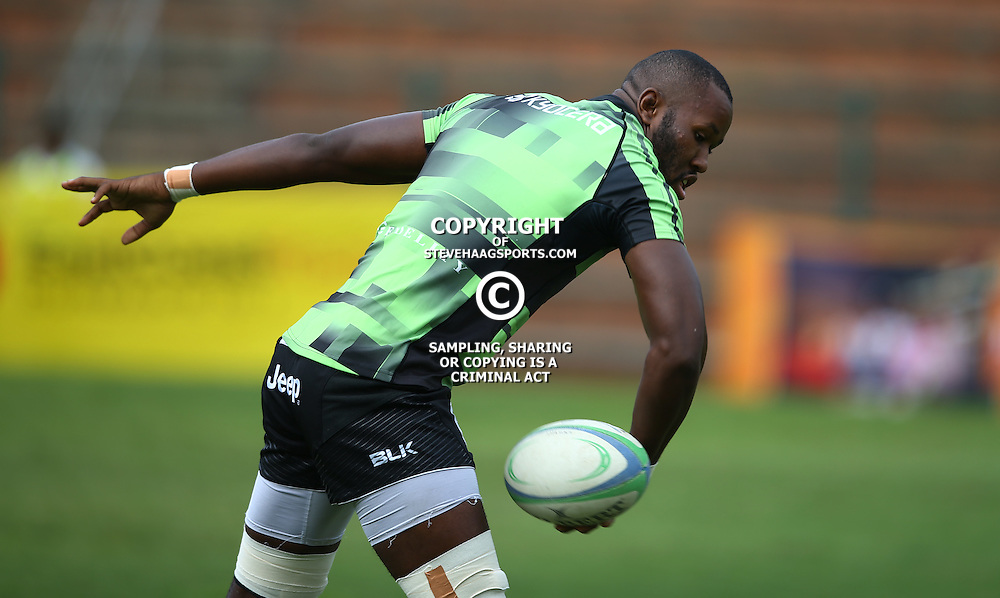 DURBAN, SOUTH AFRICA - APRIL 23: Tjiuee Uanivi of the Cell C Sharks XV during the Provincial Cup match between Cell C Sharks XV and Windhoek Draught Welwitschias at King Zwelithini Stadium on April 23, 2016 in Durban, South Africa. (Photo by Steve Haag/Gallo Images)