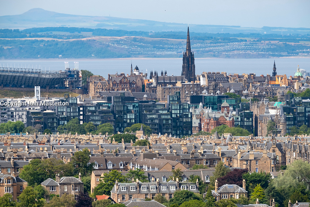 Edinburgh from Blackford Hill across Bruntsfield towards the Meadows and Quartermile new housing development, Scotland, UK