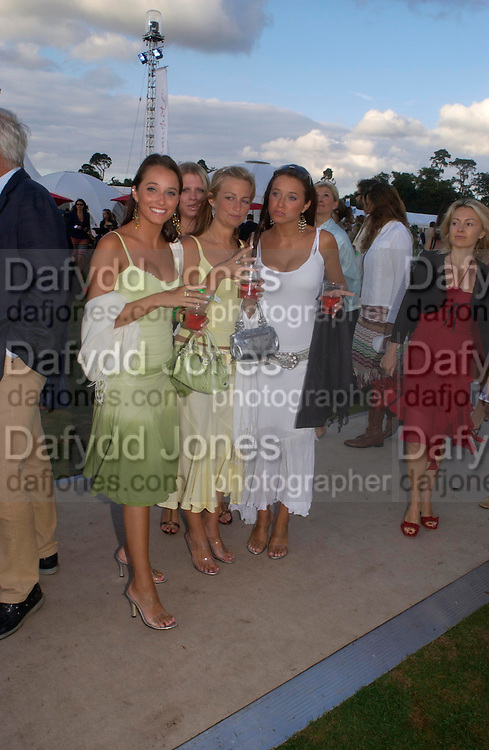 Alexis Fronda, Holly Wyllie and Mia Fonda. Cartier International Day at Guards Polo Club, Windsor Great Park. July 24, 2005. ONE TIME USE ONLY - DO NOT ARCHIVE  © Copyright Photograph by Dafydd Jones 66 Stockwell Park Rd. London SW9 0DA Tel 020 7733 0108 www.dafjones.com