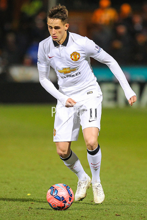 Manchester United's Adnan Janazaj during the The FA Cup match between Cambridge United and Manchester United at the R Costings Abbey Stadium, Cambridge, England on 23 January 2015. Photo by Phil Duncan.