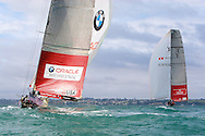 NEW ZEALAND, Auckland, 11th February 2009, Louis Vuitton Pacific Series, Challenger Final Race 2, Alinghi vs BMW Oracle Racing, Alinghi lead BMW Oracle Racing on leg 2.
