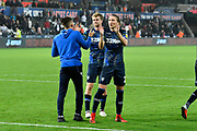 Luke Ayling (2)  of Leeds United applauds the Leeds fans after a 2-2 draw during the EFL Sky Bet Championship match between Swansea City and Leeds United at the Liberty Stadium, Swansea, Wales on 21 August 2018.
