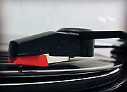 A record players playing a vinyl record.