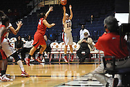 """Ole Miss' Gracie Frizzell (12) vs. Lamar's Jasmin Henderson (44) in women's college basketball at the C.M. """"Tad"""" Smith Coliseum in Oxford, Miss. on Monday, November 19, 2012.  Lamar won 85-71."""
