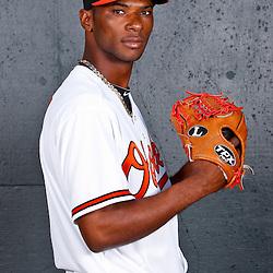 February 26, 2011; Sarasota, FL, USA; Baltimore Orioles relief pitcher Pedro Viola (47) poses during photo day at Ed Smith Stadium.  Mandatory Credit: Derick E. Hingle