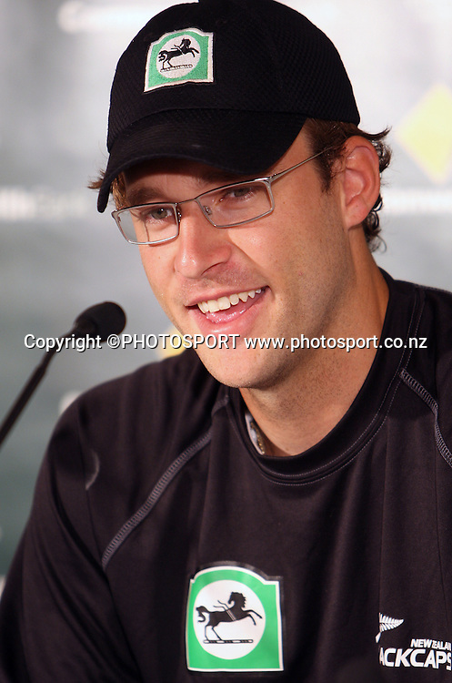 New Zealand captain Daniel Vettori at a press conference at Bellerive Oval prior to tomorrow's 3rd and deciding Chappell Hadlee Trophy match. Hobart, Australia. Wednesday 19 December 2007. <br />Photo: Andrew Cornaga/PHOTOSPORT