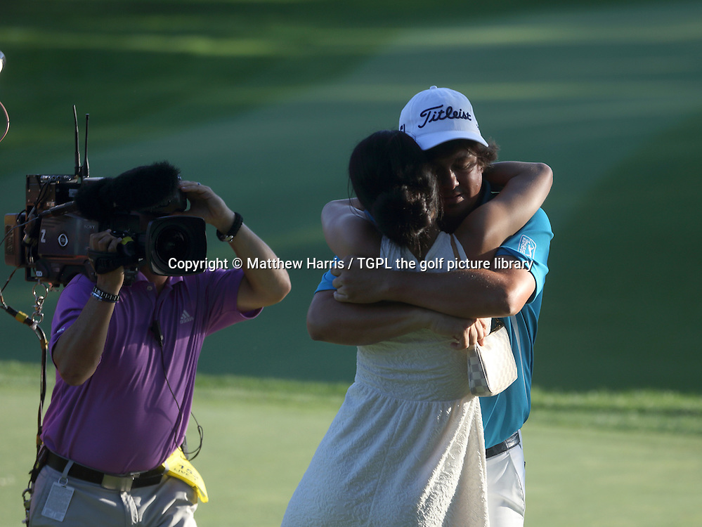 Jason DUFNER (USA) celebrates his first major win with his wife Amanda during fourth round US PGA Championship 2013,Oak Hill CC,