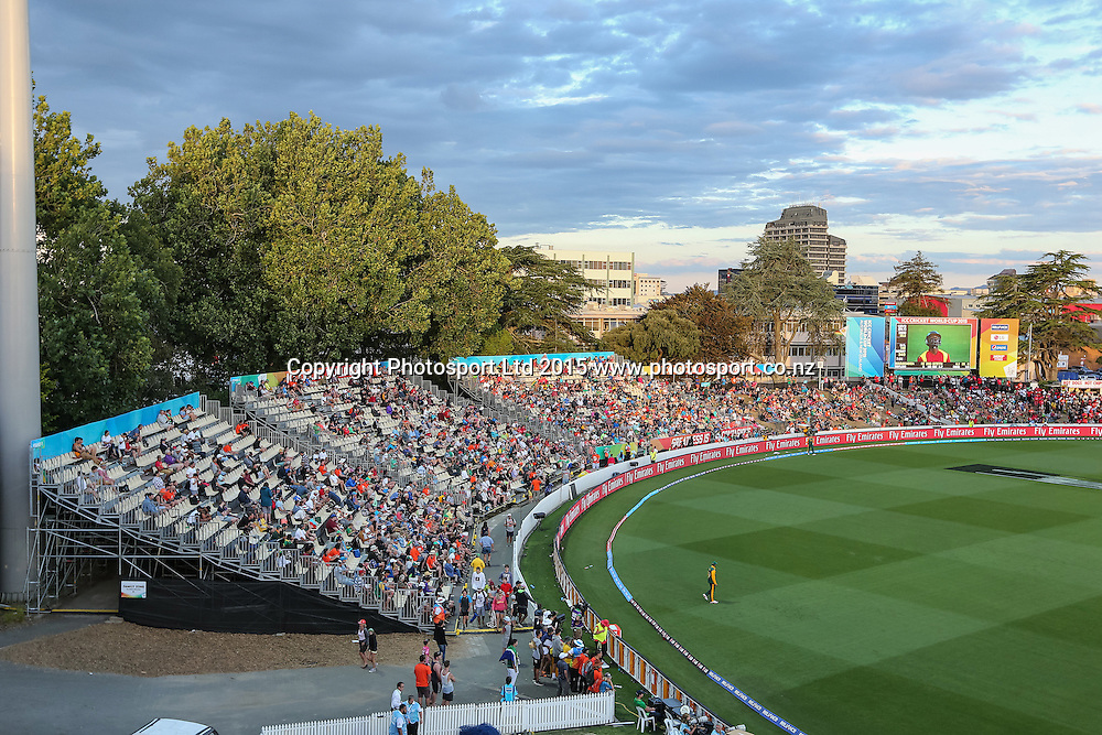 General view of the Seddon Park grandstand during the ICC Cricket World Cup match - South Africa v Zimbabwe at Seddon Park, Hamilton, New Zealand on Sunday 15 February 2015.  Photo:  Bruce Lim / www.photosport.co.nz