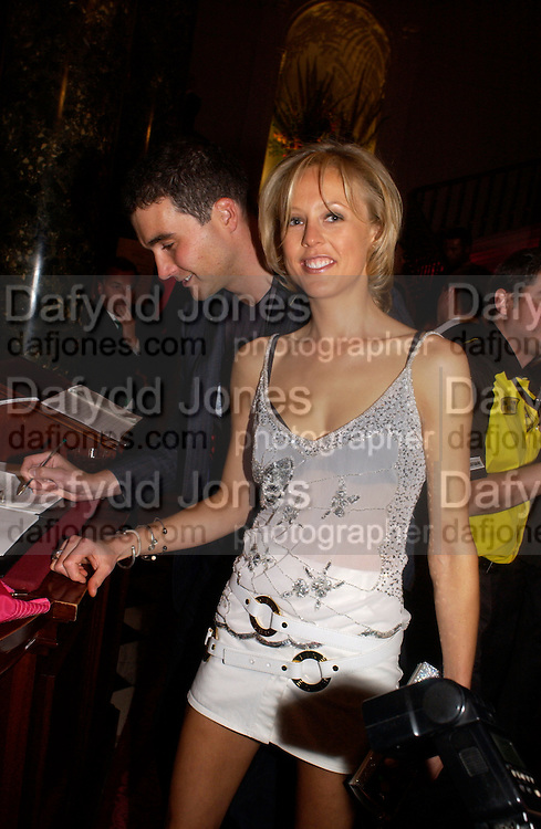 David Peacock and Lady Alexandra Spencer-Churchill, Party at Fifty, St. James St. following the Formula  1 showcase where drivers raced down Regent St. in central London. 6 July 2004. SUPPLIED FOR ONE-TIME USE ONLY-DO NOT ARCHIVE. © Copyright Photograph by Dafydd Jones 66 Stockwell Park Rd. London SW9 0DA Tel 020 7733 0108 www.dafjones.com