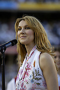 Celine Dion sings America The Beautiful during pregame at Super Bowl XXXVII in San Diego on 01/26/2003. The Tampa Bay Buccaneers defeated the Oakland Raiders 48 to 21. ©Paul Anthony Spinelli