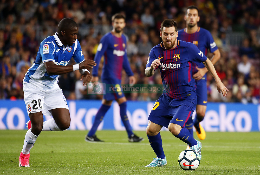 September 9, 2017 - Barcelona, Catalonia, Spain - Pape Diop and Leo Messi during La Liga match between F.C. Barcelona v RCD Espanyol, in Barcelona, on September 09, 2017. (Credit Image: © Joan Valls/NurPhoto via ZUMA Press)
