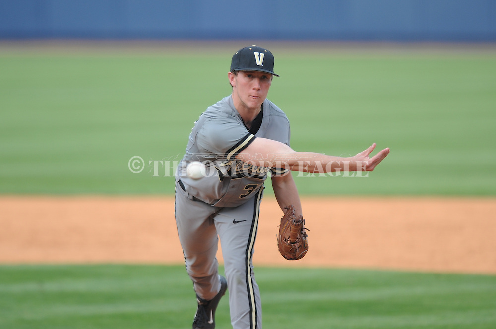 Vanderbilt's Brian Miller (33) pitches against Ole Miss at Oxford-University Stadium Stadium in Oxford, Miss. on Sunday, April 7, 2013. Vanderbilt won 7-6 in 11 innings.