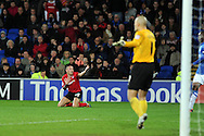 Cardiff city's Craig Bellamy © makes a point after he claims for a free-kick .  NPower championship, Cardiff city v Peterborough Utd at the Cardiff city stadium in Cardiff, South Wales on Sat 15th Dec 2012. pic by Andrew Orchard, Andrew Orchard sports photography,