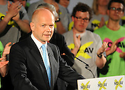 © under license to London News Pictures. LONDON, UK  03/05/2011. Foreign Secretary William Hague addresses the Rally. William Hague, Lord Owen, Theresa May, Paul Boateng, John Healey and James Cracknell at a rally urging support for a NO vote held at The Methodist Hall in Central London this morning (03 May 2011). The Rally was to urge people to vote in favour of a NO vote at the forth coming AV Referendum. Photo credit should read Stephen Simpson/LNP.