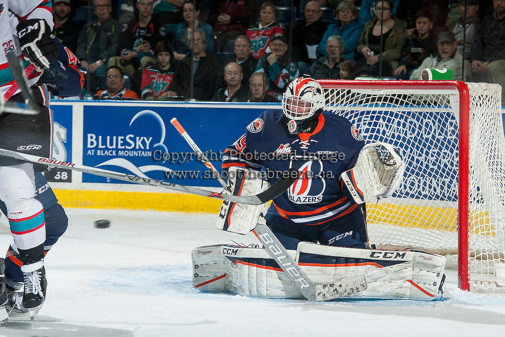 KELOWNA, CANADA - MARCH 11: Connor Ingram #39 of Kamloops Blazers defends the net against the Kelowna Rockets on March 11, 2016 at Prospera Place in Kelowna, British Columbia, Canada.  (Photo by Marissa Baecker/Shoot the Breeze)  *** Local Caption *** Connor Ingram;