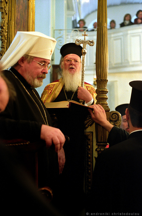 "Christian liturgy with the Greek Orthodox Patriarch, in ""Panagia Hangariotisa"" church, in Tsekfusarai. For the few remaining Greeks in Istanbul, religion and the Patriarchy is a strong bond for their community..ISTANBUL, Androniki Christodoulou/WorldPictureNews"