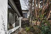 Oiso, Kanagawa prefecture, Japan, February 10 2017 - Keiji and Atsuko Suzuki's minka, traditional wooden house, is the last minka home in Oiso. The previous owner of the 3,000 sq. ft. house moved it from the shores of Lake Biwa, near Kyoto, 35 years ago.<br /> Main building as seen from the garden.