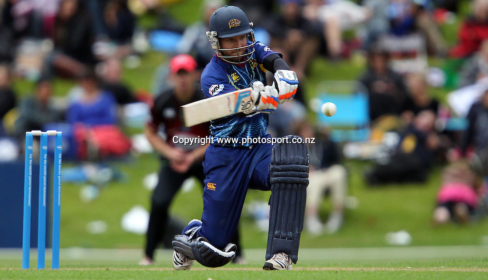 Derek de Boorder in action for the Otago Volts.<br /> Twenty20 Cricket - HRV Cup, Otago Volts v Canterbury Wizards, 15 January 2013, University Oval, Dunedin, New Zealand.<br /> Photo: Rob Jefferies / photosport.co.nz