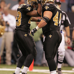 2008 December, 07: New Orleans Saints running back Pierre Thomas (23) celebrates with FB Mike Karney (44) after scoring a touchdown during a 29-25 victory by the New Orleans Saints over NFC South divisional rivals the Atlanta Falcons at the Louisiana Superdome in New Orleans, LA.
