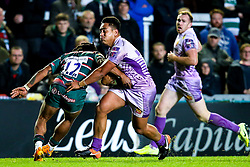 Barrie Karea of Exeter Chiefs takes on Kyle Eastmond of Leicester Tigers - Mandatory by-line: Robbie Stephenson/JMP - 27/09/2019 - RUGBY - Welford Road - Leicester, England - Leicester Tigers v Exeter Chiefs - Premiership Rugby Cup