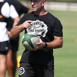 Johan Pretorius Head Strength &amp; Conditioning Coach during The Cell C Sharks High CNS Rugby / Skills / Field Conditioning KP2, session at Growthpoint Kings Park in Durban, South Africa. December 9th December 2016 (Photo by Steve Haag)<br /> <br /> images for social media must have consent from Steve Haag