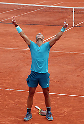June 10, 2018 - Paris, France - RAFAEL NADAL of Spain celebrates winning the Men's Singles Final win in the French Open tennis tournament, at Roland Garros. Nadal won 6-4, 6-3, 6-2. (Credit Image: © Maya Vidon-White via ZUMA Wire)