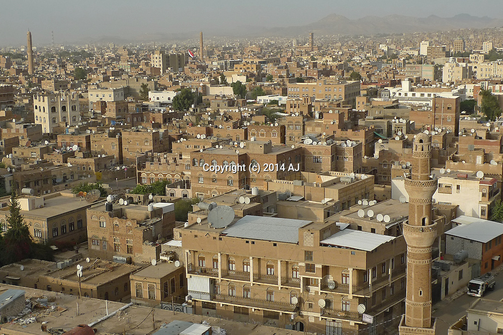 Looking down on the city of Sanaa, Yemen