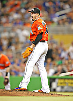 Miami Marlins Jose Fernandez reacts during a game.<br /> (Photo byTom DiPace)