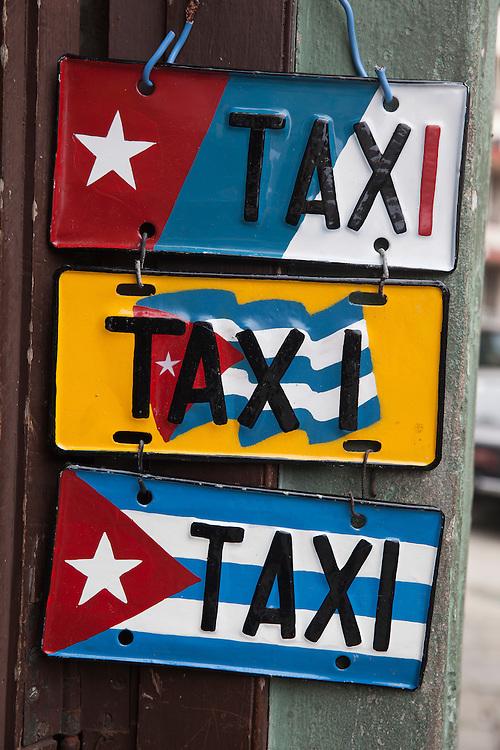 Taxi license plates sold as souvenir in Havana, Cuba.