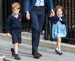 © Licensed to London News Pictures. 23/04/2018. London, UK. The Duke of Cambridge (centre) arrives at the Lindo Wing of St Mary's Hospital in west London with his son Prince George of Cambridge and daughter Princess Charlotte of Cambridge. The Duchess of Cambridge has given birth to her third son, safely delivered at 11:01 AM today. He weighed 8lbs 7oz and is fifth in line to the throne. Photo credit : Tom Nicholson/LNP