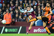 Aston Villa midfielder Jack Grealish (10) sees his shot blocked  by Wolverhampton Wanderers midfielder Ruben Neves (8) during the EFL Sky Bet Championship match between Aston Villa and Wolverhampton Wanderers at Villa Park, Birmingham, England on 10 March 2018. Picture by Dennis Goodwin.