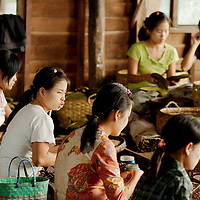 Girls working at a cigar workshop in Inle lake