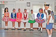 At Merrick Post #1282 of American Legion barbecue for Veterans from New York State Nursing Home at Stony Brook NY, Irish step dancers from the Hagen School of Irish Dance performed, shown here with Adjutant Robert Tom Riordan PPC (Past County Commander) on August, 13, 2011, in Merrick, New York, USA. Photo © 2011 Ann Parry, All rights reserved. Ann-Parry.com