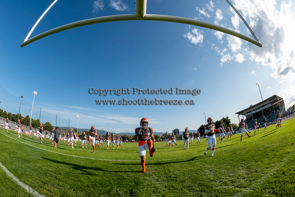 KELOWNA, BC - AUGUST 3:  Kian Ishani #8 of the Okanagan Sun warms up on the field against the Kamloops Broncos at the Apple Bowl on August 3, 2019 in Kelowna, Canada. (Photo by Marissa Baecker/Shoot the Breeze)