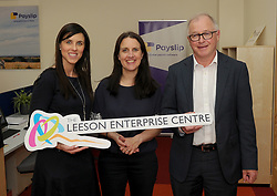 Stephanie Colombani Westport Chamber, Fidelma McGuirk Payslip and Owen Hughes Portwest at the opening of the Leeson Enterprise centre Westport on friday last.<br /> Pic Conor McKeown