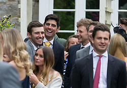 England former captain Alistair Cook (centre, left) with Joe Root (centre, right) outside St Mary the Virgin, East Brent, Somerset, following the wedding of Ben Stokes and his fiancee Clare Ratcliffe.