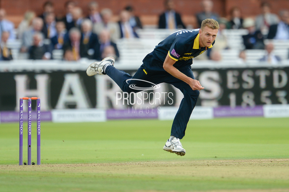 Oliver Hannon-Dalby bowling during the Royal London One Day Cup match between Warwickshire County Cricket Club and Surrey County Cricket Club at Lord's Cricket Ground, St John's Wood, United Kingdom on 17 September 2016. Photo by David Vokes.