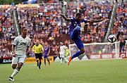 FC Cincinnati midfielder Allan Cruz (15) leaps to kick the ball during a MLS soccer game, Sunday, July 21, 2019, in Cincinnati, OH. The Revolution defeated FC Cincinnati 2-0.(Jason Whitman/Image of Sport)