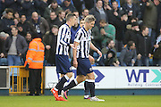 Millwall striker Steve Morison (20) walking back after scoring 1-0 during the The FA Cup 3rd round match between Millwall and Bournemouth at The Den, London, England on 7 January 2017. Photo by Matthew Redman.