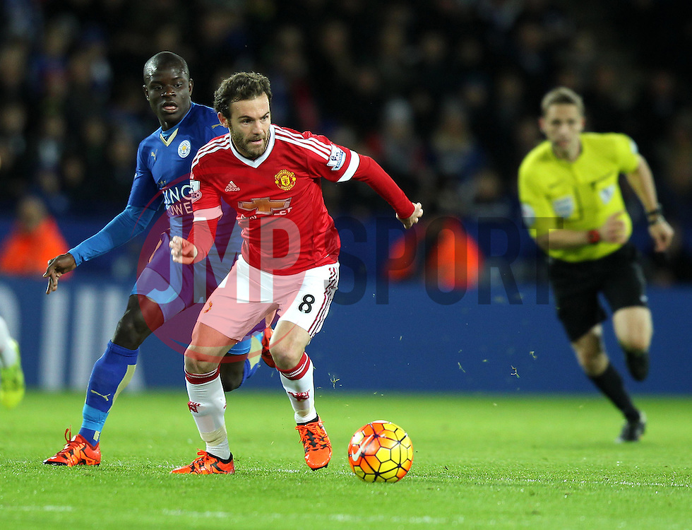 Juan Mata of Manchester United gets away from Ngolo Kante of Leicester City - Mandatory byline: Robbie Stephenson/JMP - 28/11/2015 - Football - King Power Stadium - Leicester, England - Leicester City v Manchester United - Barclays Premier League