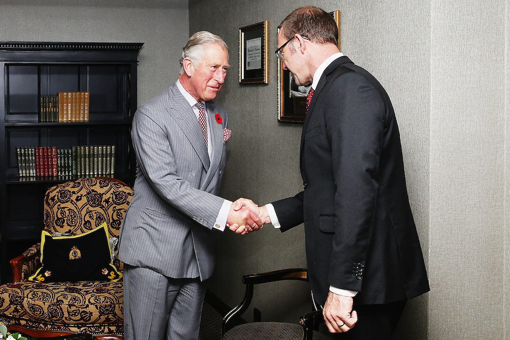Leader of the New Zealand Labour Party Andrew Little meets Prince Charles, Prince of Wales at the Langham Hotel, Auckland, New Zealand, New Zealand, Monday, November 09, 2015. Credit:SNPA / Getty, Hannah Peters  **POOL**
