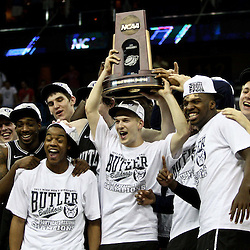 Mar 26, 2011; New Orleans, LA;  Butler Bulldogs players celebrate following a overtime win over the Florida Gators in the semifinals of the southeast regional of the 2011 NCAA men's basketball tournament at New Orleans Arena. Butler defeated Florida 74-71.  Mandatory Credit: Derick E. Hingle